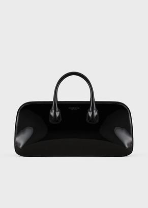 Giorgio Armani Patent Leather La Prima Boston Bag