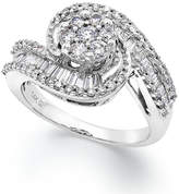 Macy's Diamond Cluster Swirl Ring in 14k White Gold (1 ct. t.w.)