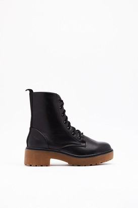 Nasty Gal Womens Takin' the High Road Faux Leather Lace-Up Boots - black - 3