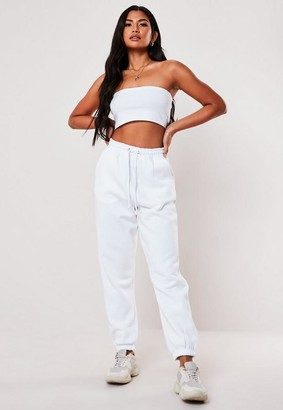 Missguided White Bandeau Top And 90'S Joggers Set