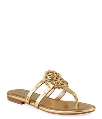 Sam Edelman Clara Metallic Medallion Thong Flat Sandals
