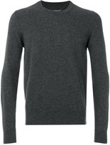 Maison Margiela elbow patch crew neck jumper - men - Leather/Wool - S
