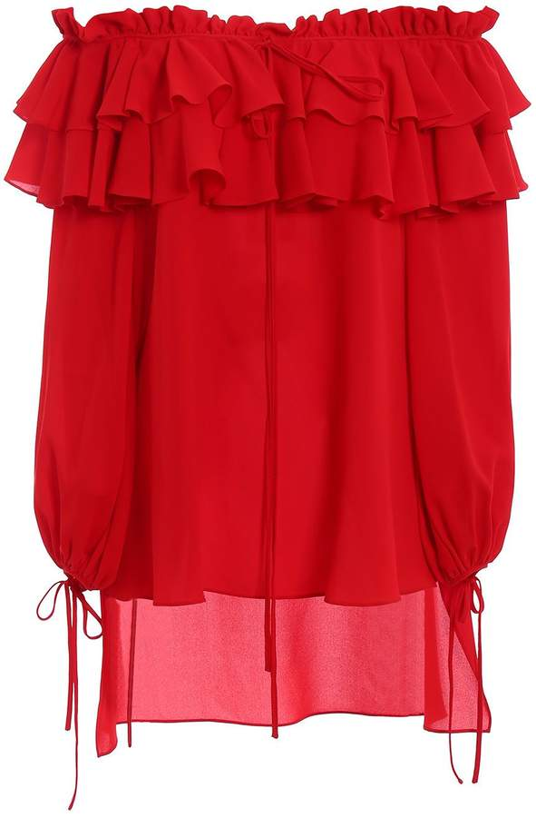 Alexander McQueen Off Shoulder Ruff Shirt