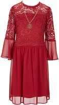 I.N. Girl Big Girls 7-16 Bell-Sleeve Lace Inset Dress