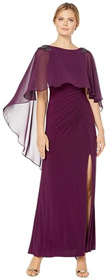 Adrianna Papell Chiffon Capelet Jersey Gown with Embellishment (Shiraz) Women's Dress