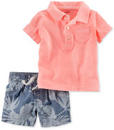 Carter's 2-Pc. Cotton Polo Shirt & Chambray Shorts Set, Baby Boys (0-24 Months)