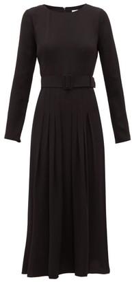 Goat Josephine Pleated-skirt Crepe Midi Dress - Black
