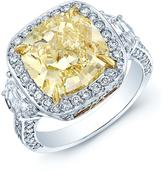 Ice 7 CT TW Yellow Diamond Platinum Halo Engagement Ring with 18K Gold Accents