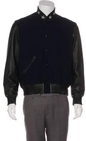 Saint Laurent Virgin Wool & Leather Bomber Jacket