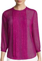 Liz Claiborne 3/4-Sleeve Pleat Front Blouse