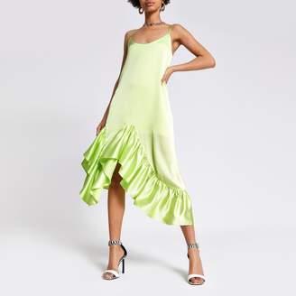 River Island Womens Green frill midi slip dress