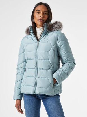 Dorothy Perkins Short Length Faux Fur Hooded Padded Coat - Blue