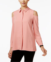 Alfani Petite Cold-Shoulder Blouse, Only at Macy's