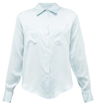 Officine Generale Carine Silk-satin Shirt - Light Blue