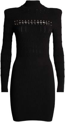 Balmain Long Sleeve Lace-Up Dress