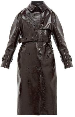 Joseph Belted Vinyl-coated Wool-blend Trench Coat - Womens - Burgundy