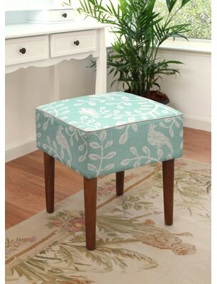 Winston Porter Leiva Birds and Vines Linen Upholstered Modern Vanity Stool Color: Aqua