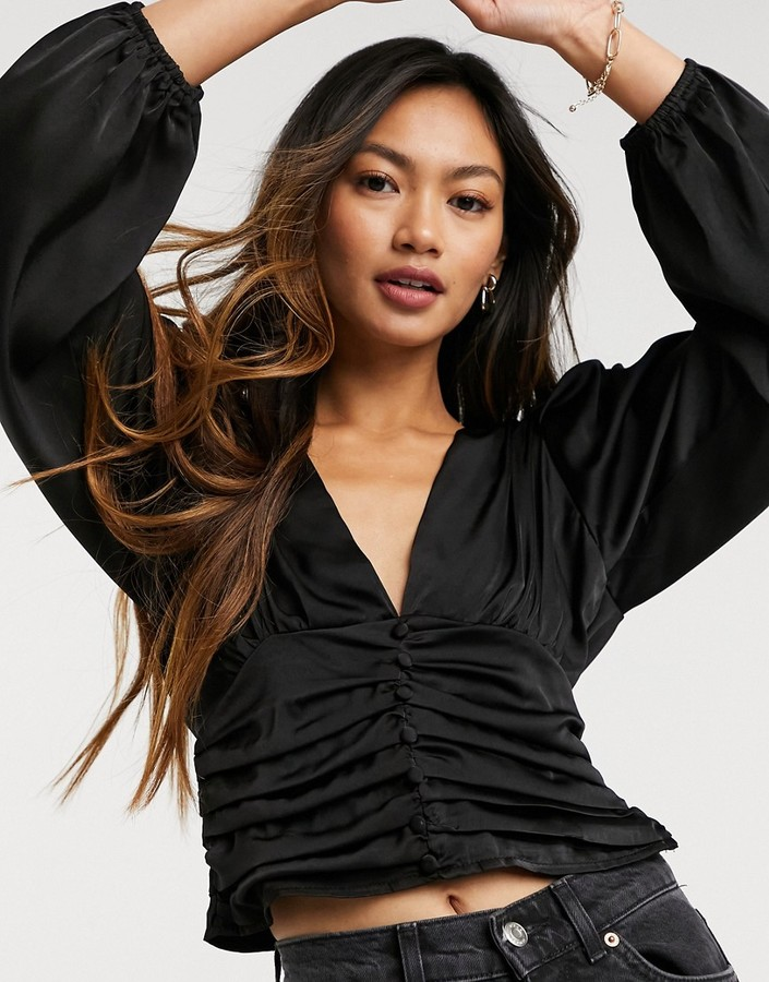 Thumbnail for your product : Forever U silky blouse with ruched detail in black