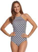 Seafolly Modern Geometry High Neck One Piece Swimsuit (DDCup) - 8158958