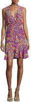 Saloni Fleur Choker Floral-Print Dress, Multicolor