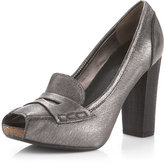 Peep-Toe Penny-Loafer Pump, Pewter