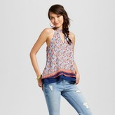 3Hearts Women's Printed Mock Neck Cut Out Double Layer Top - 3Hearts (Juniors') Orange