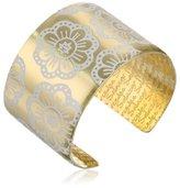 Mercedes Salazar Fuchsia Handmade Brass Enameled White Cuff Bracelet