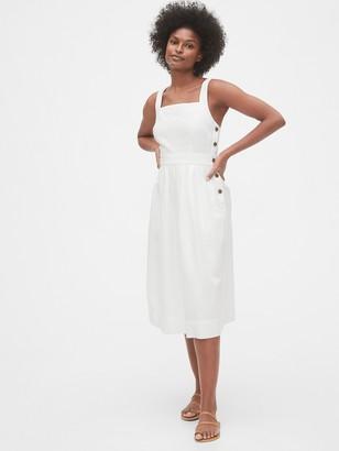 Gap Apron Midi Dress in Linen-Cotton