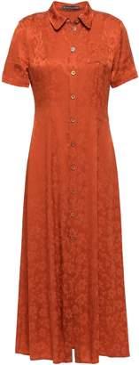 ALEXACHUNG Ruffled Satin-jacquard Midi Shirt Dress