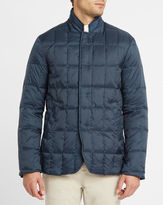 Armani Collezioni Navy Corduroy Lined Zipped Collar Quilted Down Jacket