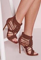 Missguided Origami Rope Heeled Sandals Tan