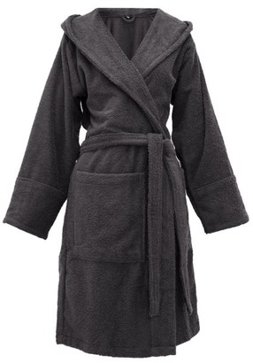 Tekla Hooded Cotton-terry Bathrobe - Dark Grey