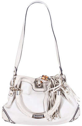Gucci Ivory Leather Indy Bamboo Tassel Hobo Bag