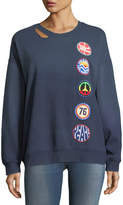 Vintage Havana Retro Patch Cutout Sweatshirt