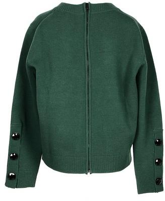 N°21 Green Wool Bland Women's Sweater w/Back Zip