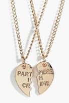 Boohoo Anna Besties 2 Piece Friendship Necklace