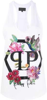 Philipp Plein embellished floral tank top