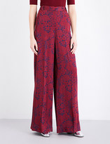 Erdem Wide-leg satin-jacquard trousers