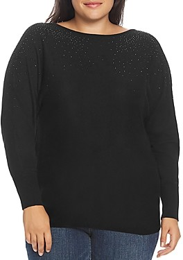 Vince Camuto Plus Embellished Dolman-Sleeve Sweater