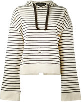 Filles a papa striped open back hoodie - women - Cotton - 0