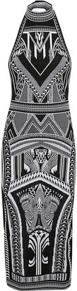 Balmain Long Halterneck Jacquard Dress