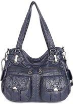21KBARCELONA BARCELONA21K 2 Top Zippers Multi Pockets Handbags Washed Leather Purses Shoulder Bags