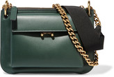 Marni Pocket Two-tone Leather Shoulder Bag - Emerald