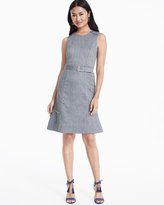 White House Black Market Sleeveless Beverly Linen Tweed A-line Dress