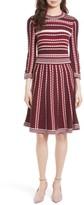 Kate Spade Women's Scallop Stripe Knit Fit & Flare Dress