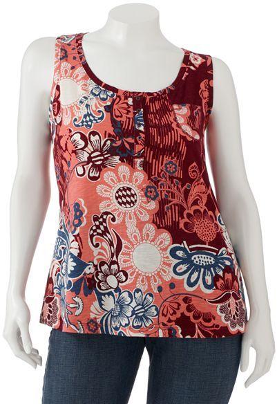 Sonoma life + style ® floral henley tank - women's plus