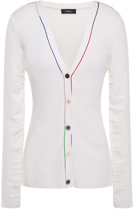 Theory Ruched Merino Wool-blend Cardigan