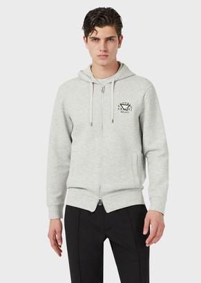 Emporio Armani Zipped, Hooded Sweatshirt With Emoji Patch