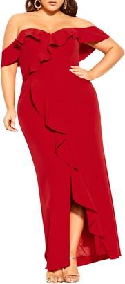 City Chic Savannah Off the Shoulder Maxi Dress