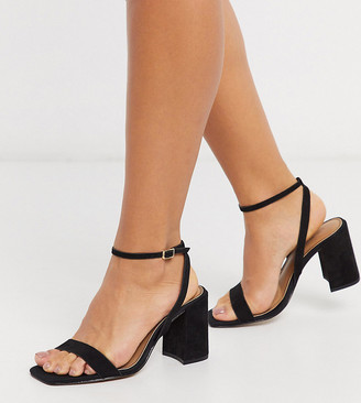 ASOS DESIGN Wide Fit Havana barely there block heeled sandals in black